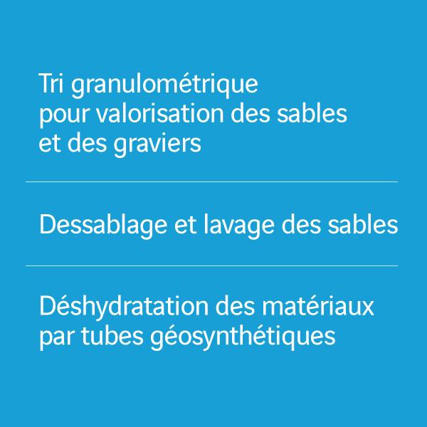 Tri granulométrique pour valorisation des sables et des graviers_Dessablage et lavage des sables_Déshydratation des matériaux par tubes géosynthétiques