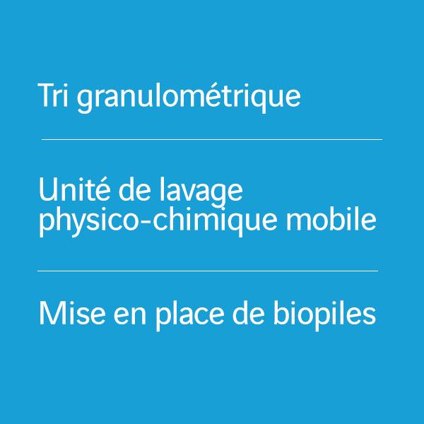 Tri granulométrique_Unité de lavage physico-chimique mobile_Mise en place de biopiles