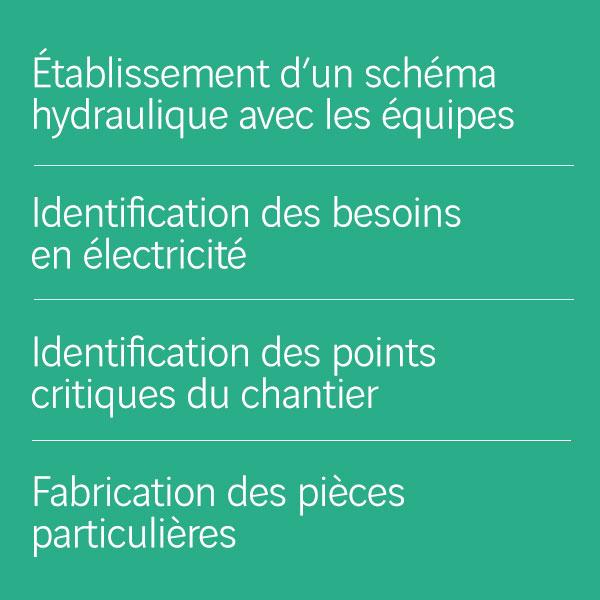 Etablissement d'un schéma hydraulique_Identification des besoins en électricité_Identification des points critiques du chantier_Fabrication des pièces particulières
