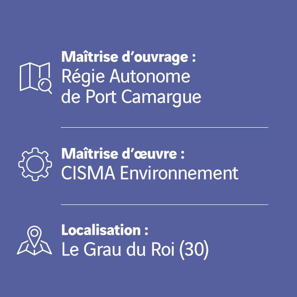 Dragage du chenal Sud de Port Camargue contexte chantier