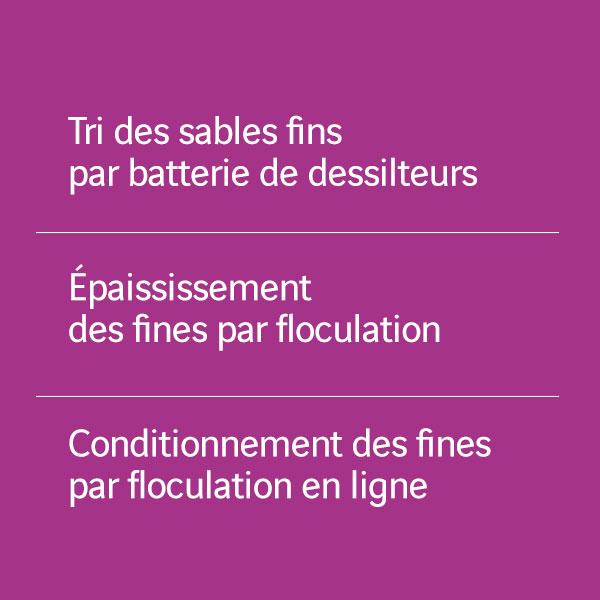 Tri des sables fins_Epaississement des fines par floculation_Conditionnement des fines par floculation en ligne